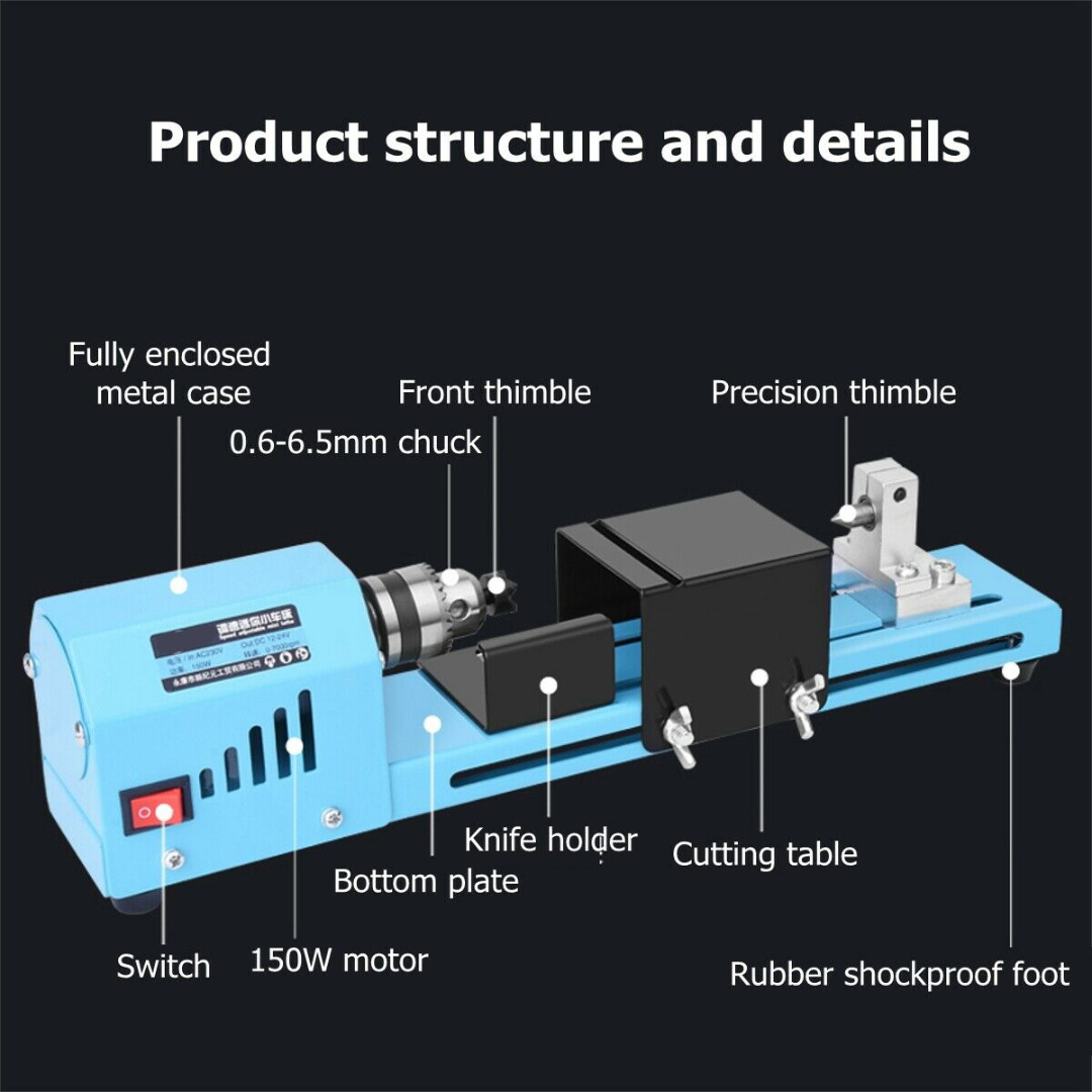 DIY Mini Wood Lathe Bead Cutting Machine Stainless Steel Drill Polishing Woodworking Tool Home Small Wood Lathe