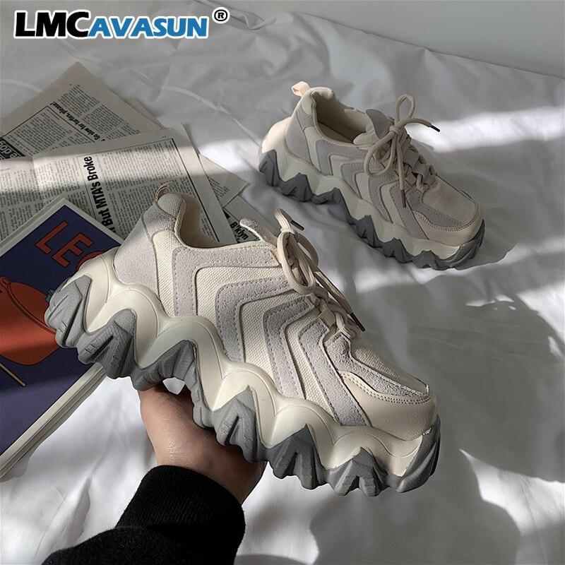 Женские кроссовки LMCAVASUN, повседневные кроссовки на платформе, с клиньями, 2020