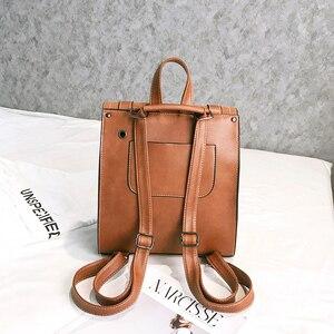 Image 5 - 2 unids/set de mochilas de cuero para mujer, mochila para chica adolescente, mochila para mujer, bolsas de viaje de Pu de gran capacidad, bolso escolar Vintage