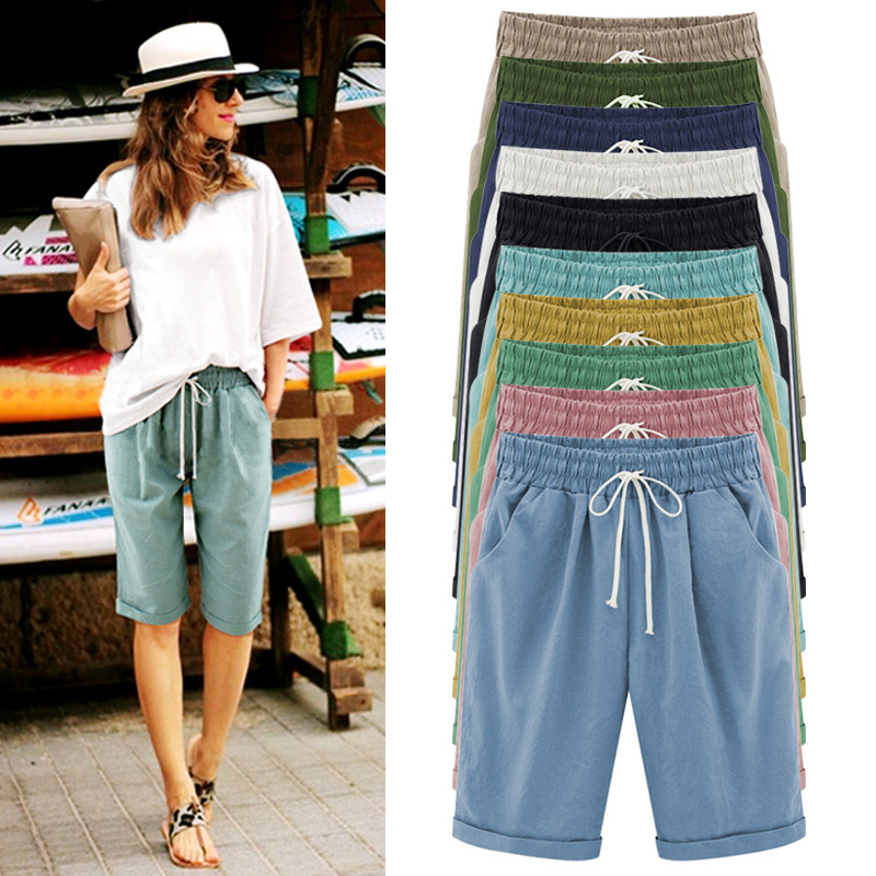 Plus Size Cotton Linen Shorts Women Summer Casual Loose Ladies Drawstring Elastic Thin Short Femme Oversized S-8XL Spodenki Dams