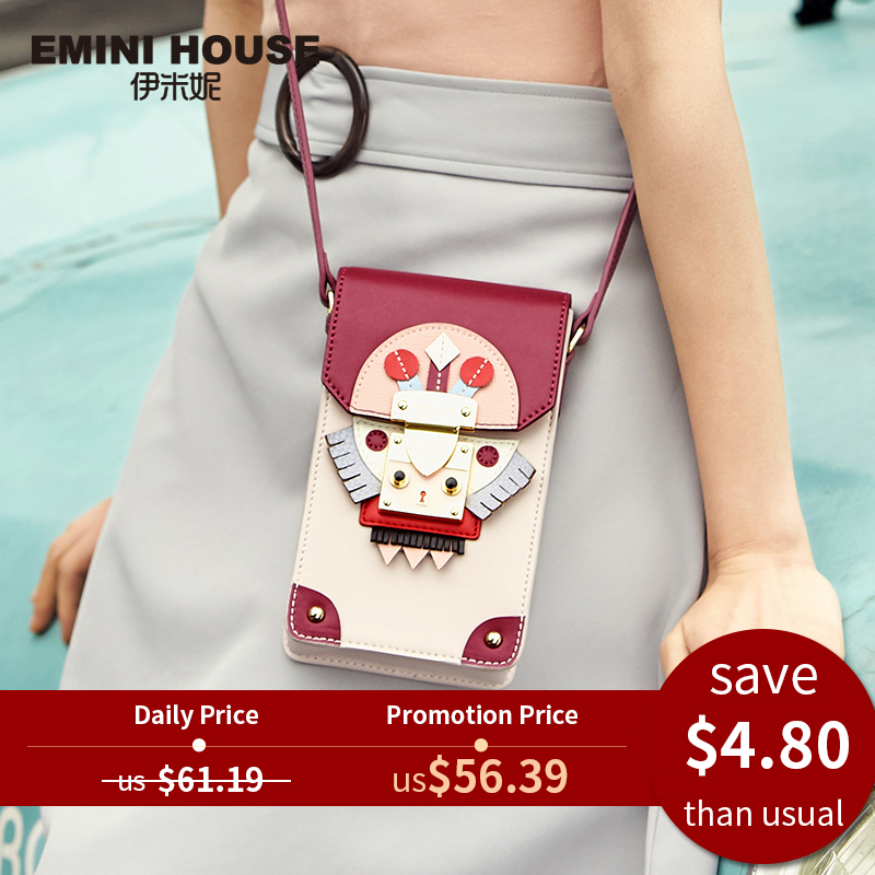 Phone-Bag Crossbody-Bags Emini-House Indian-Style Leather Women Messenger-Bag Panelled