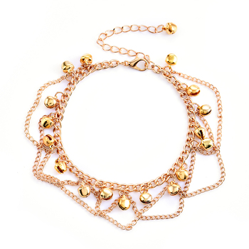 2017 New Women Gril Tassel Chain Bells Sound Gold Metal Chain Anklet Ankle Bracelet Foot Chain Jewelry Beach Anklet 4