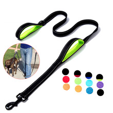 Dog Leash Dual Handle Hands Free Running Leash Shock Absorbing Extendible Bungee Reflective Stitching Adjustable Waist Belt