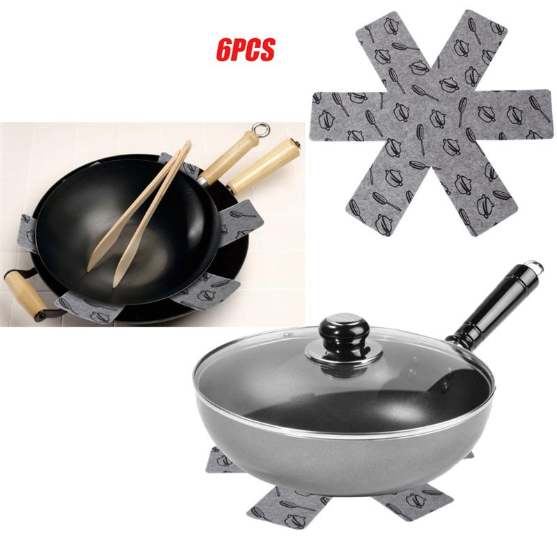 6pcs Pot Pan Protectors Gray Print Premium Divider Pads to Prevent Scratching Separate Protect Surfaces Kitchen Cookware Tools(China)