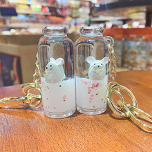 Fashion Moving Liquid keychain floating mouse quicksand bottle Key Chains women bag pendant Lovely car keyring key holder gifts