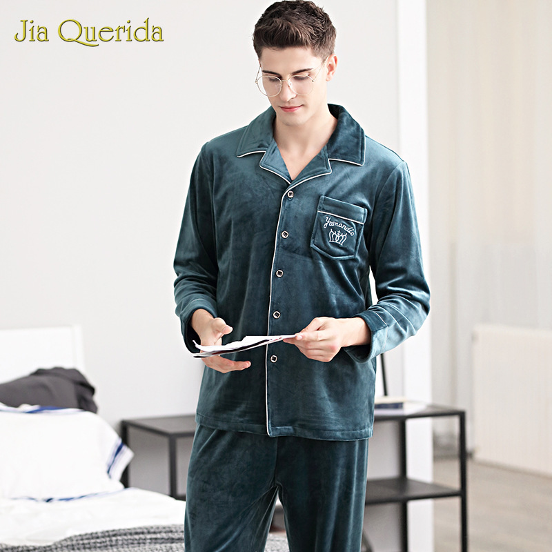 Men Pijamas Big Size Long Sleeve Cardigan Button Embroidery Pocket Minimalist Style Super Soft Island Velvet Luxury Homewear New