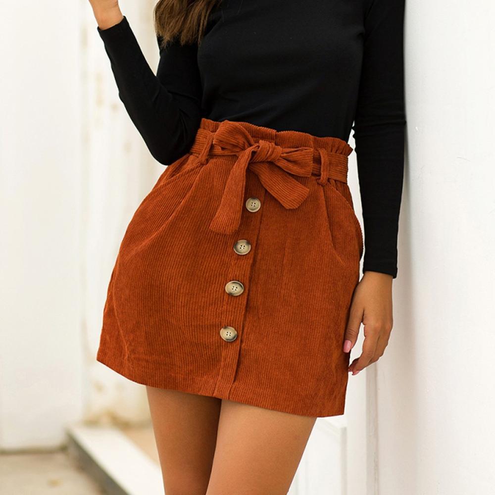 Lady's Corduroy Skirt New Fashion Hight Waist Pocket Button Bow Bodycon Elastic Short Skirt Mujer Moda 2020 H1