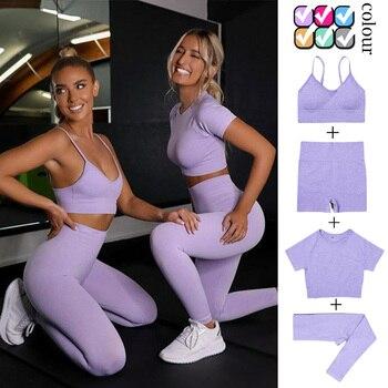 4PCS Seamles Sport Set Women Purple Two 2 Piece Crop Top T-shirt Bra Legging Sportsuit Workout Outfit Fitness Wear Yoga Gym Sets 1
