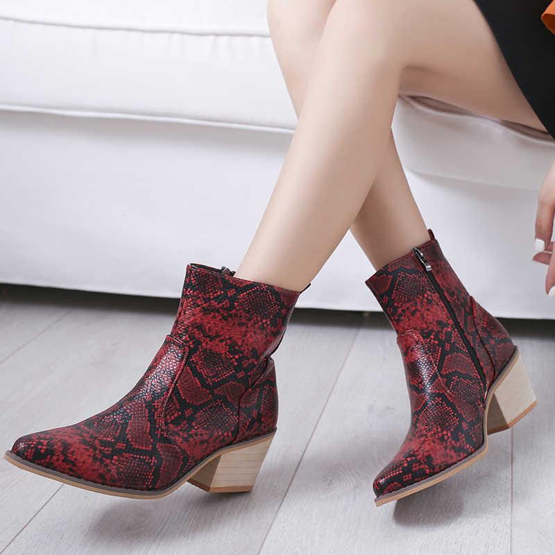 Adisputent Botas de serpiente de cuero de la PU de las mujeres tobillo Botas cuñas tacón alto Botas de invierno del dedo del pie puntiagudo Botas Mujer