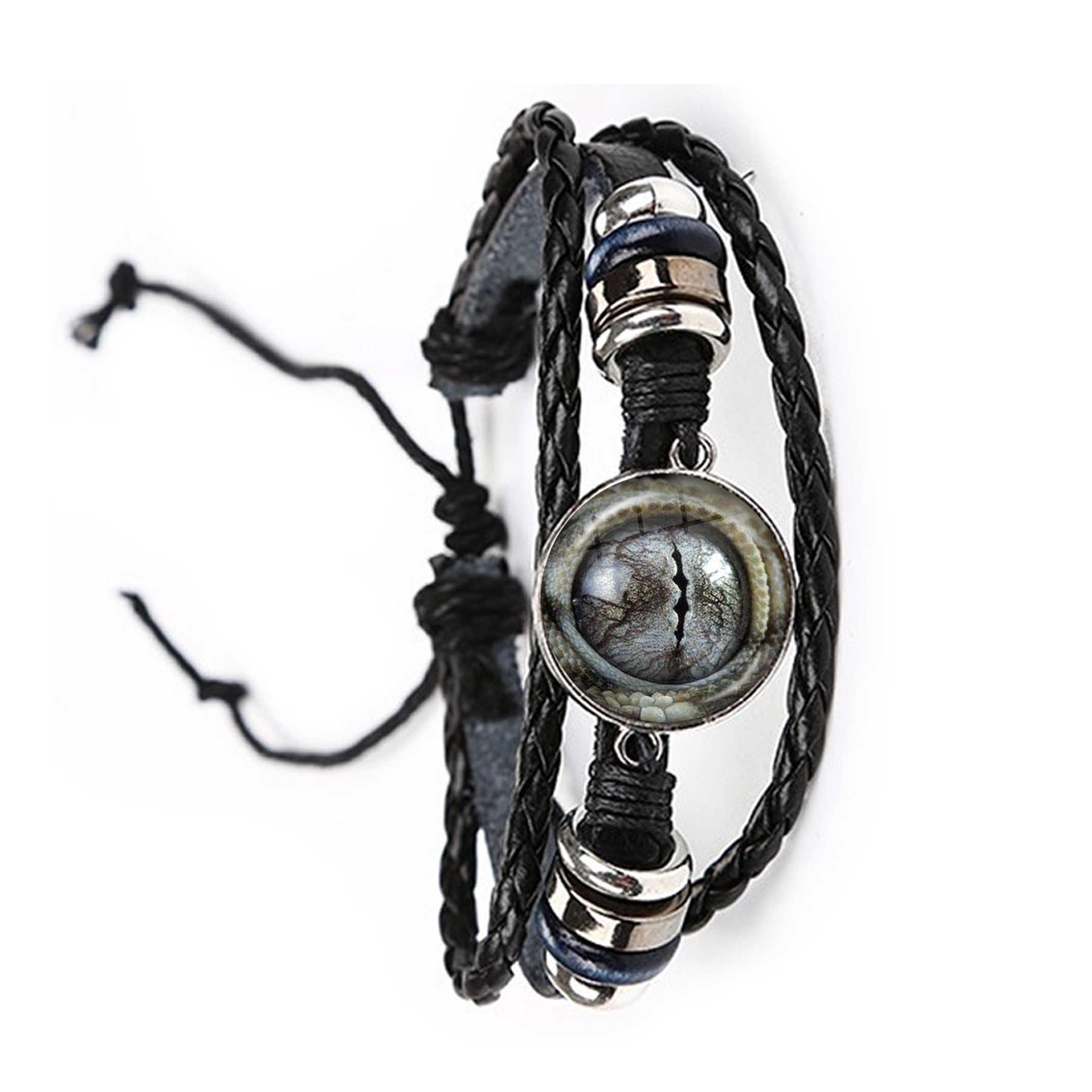 Глаза животных Дракон змея Сова ободок с ушками кошки, тигра глаза 20 мм стеклянный кабошон ювелирный браслет ручной работы кожаный браслет для женщины мужчины подарок