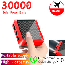 Solar Portable 30000mAh Powerbank Portable Fast Charging External Battery with 3USB Ports Flashlight Charge for Samsung IPhone