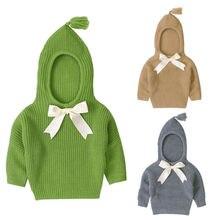 Зимняя вязаная для маленьких девочек, однотонный пуловер с капюшоном и бантом для детей от 0 до 24 месяцев теплый свитер верхняя накидка, 3 цвета