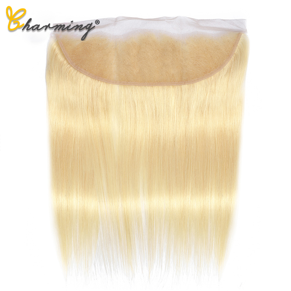 CHARMING 613 Blonde Brazilian Straight Lace Frontal Closure 4*13 Hair Middle/Free/Three Part Remy Human Hair Lace Closure image
