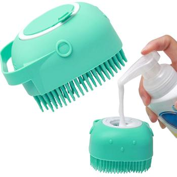 Pet Dog Shampoo Brush 2.7oz/80ml Cat Massage Comb Grooming Scrubber Brush for Bathing Short Hair Soft Silicone Rubber Brushes
