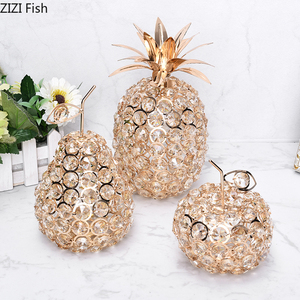 Nordic Room Decor Pineapple Crystal Ornaments Gold Silver Fruit Wrought Iron Desk Adornment Home Decoration Accessories Modern