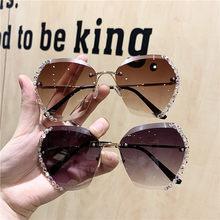2021 marca de moda designer do vintage strass óculos de sol das mulheres dos homens retro corte lente gradiente óculos femininos uv400