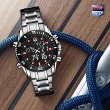 TVG, высокое качество, роскошный бренд, нержавеющая сталь, секундомер, спортивные часы, мужские, светодиодный, цифровые часы, водонепроницаемые, наручные часы, красный цвет