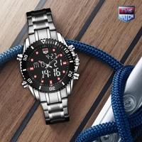 TVG 2019 Hight Quality New Luxury Brand Stainless Steel Stop Watch Sport Watch Men LED Digital Watch Waterproof Wrist Watch RED