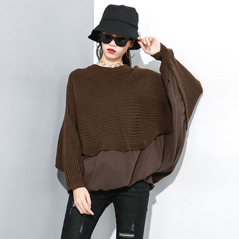 Women Spliced Defined Waist Sweater Black Coffee Batwing Sleeve Loose O-Neck Pullovers Jumpers OL Fashion High Street Clothing
