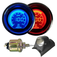 2 zoll 52mm Auto Öl Manometer Psi 12V Blau Rot LED Licht Manometer Presse Auto Digital Meter + auto Links Hand Stick Pod Halter