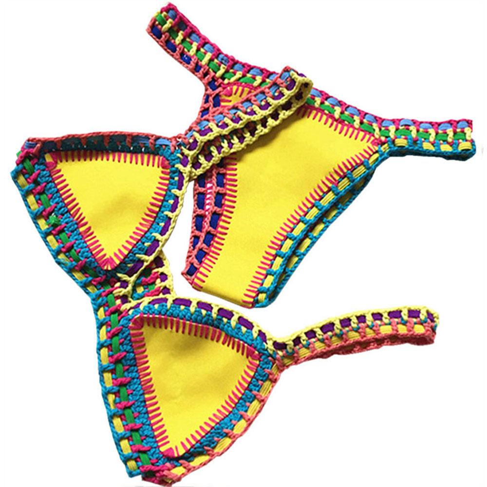 Women Bikini Set Reversible Swimwear Beachwear Sexy Low Waist Handmade Knit Swimsuit Female Bathing Suit Swimming Suit