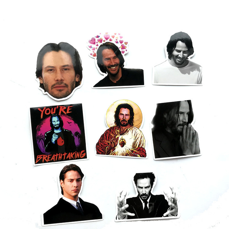 8 PCS Keanu Reeves Sticker PVC Car Sticker For Skateboard Suitcase Refrigerator Motorcycle Stickers