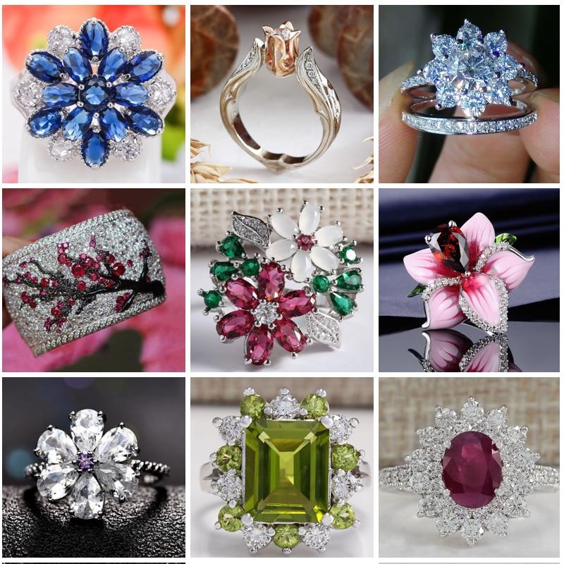Elegant Cubic Zircon Flower Rings For Women Wedding Gift Luxury Jewelry Crystal Princess Ring Ladies Fashion Accessories Z4K822