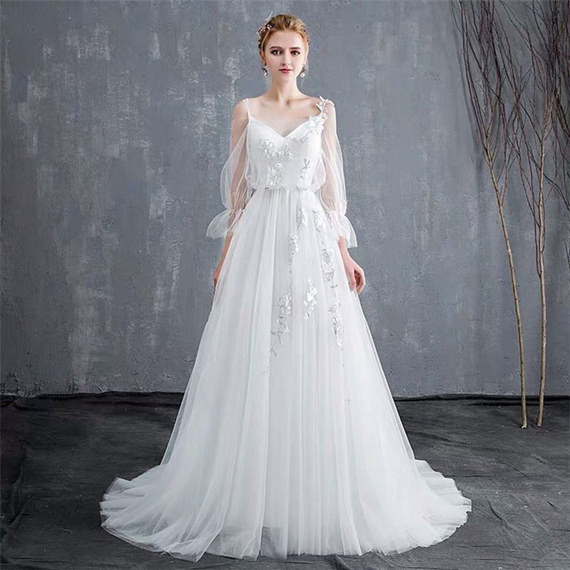 YULUOSHA Long Sleeve Wedding Dress Strapless Appliques Lace Brush Train Backless Lace Up Boho Wedding Dress Vestido De Noiva