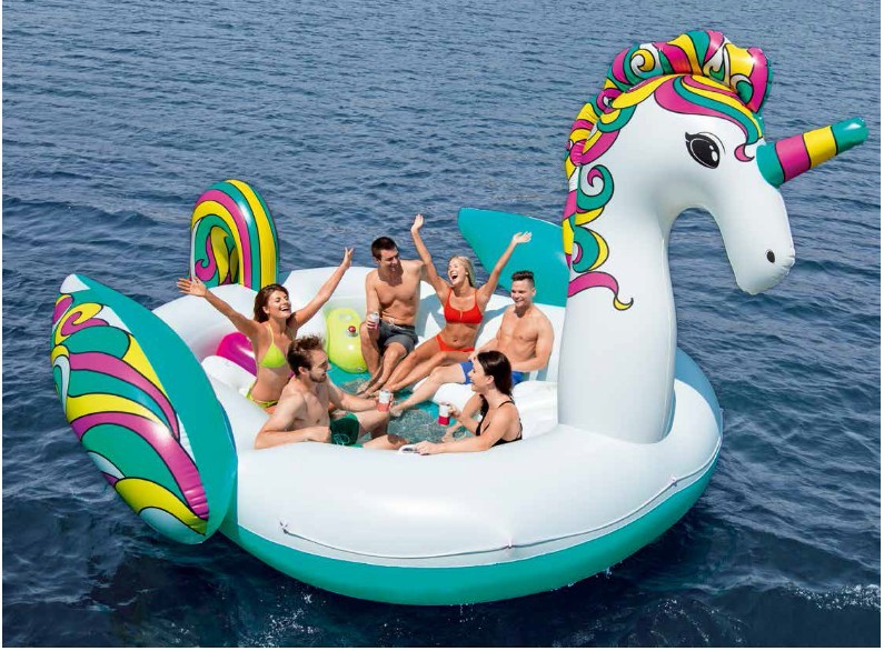 6 Person Inflatable Giant Unicorn Horse Pool Float Island Swimming Pool Lake Beach Party Floating Boat Water Toys Air Mattresses