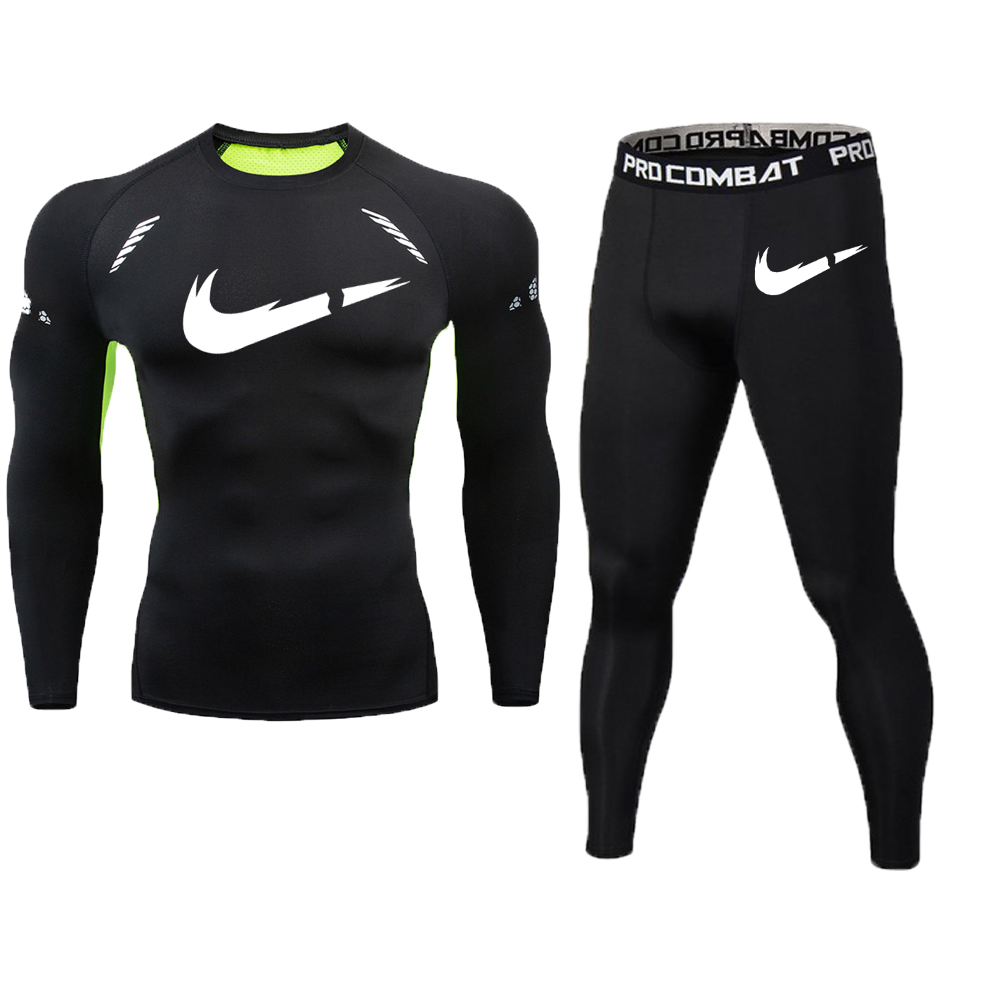 Image 3 - New Fitness Men's Set Pure Black Compression Top + Leggings Underwear Crossfit Long Sleeve + Short Sleeve T Shirt Apparel Set-in Men's Sets from Men's Clothing