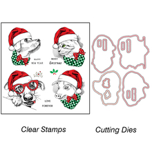 ZhuoAng Christmas Love Forever Cutting Dies Clear Stamps For DIY Scrapbooking/Card Making/Album Decorative Silicon Stamp Crafts