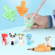 5pcs/set Silicone Pen Grip Beginner Writing Aid Tool Cartoon Stationery Students Writing Control Educational Supplies Kids Gifts