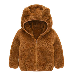 Image 1 - Soft Warm Polar Fleece Hooded Child Coat Baby Girls Boys Jackets Children Outerwear Clothing For 70 120cm Spring Autumn