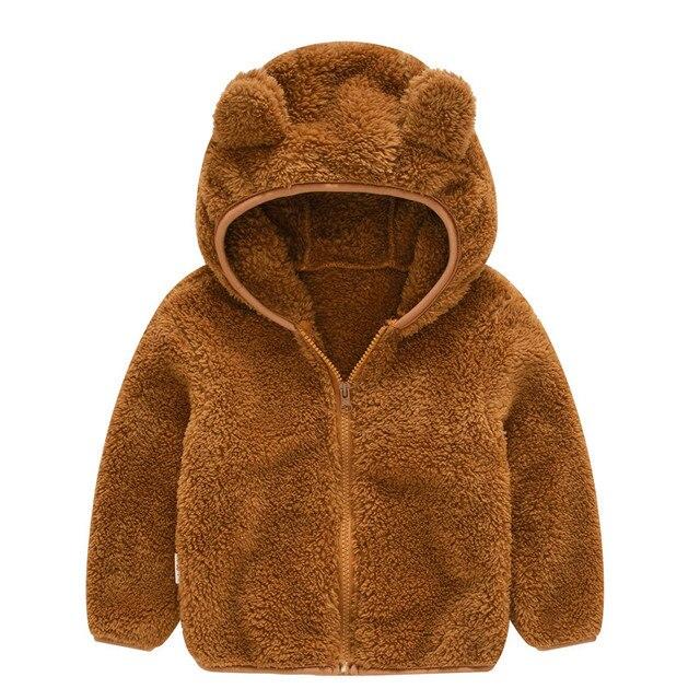 Soft Warm Polar Fleece Hooded Child Coat Baby Girls Boys Jackets Children Outerwear Clothing For 70 120cm Spring Autumn