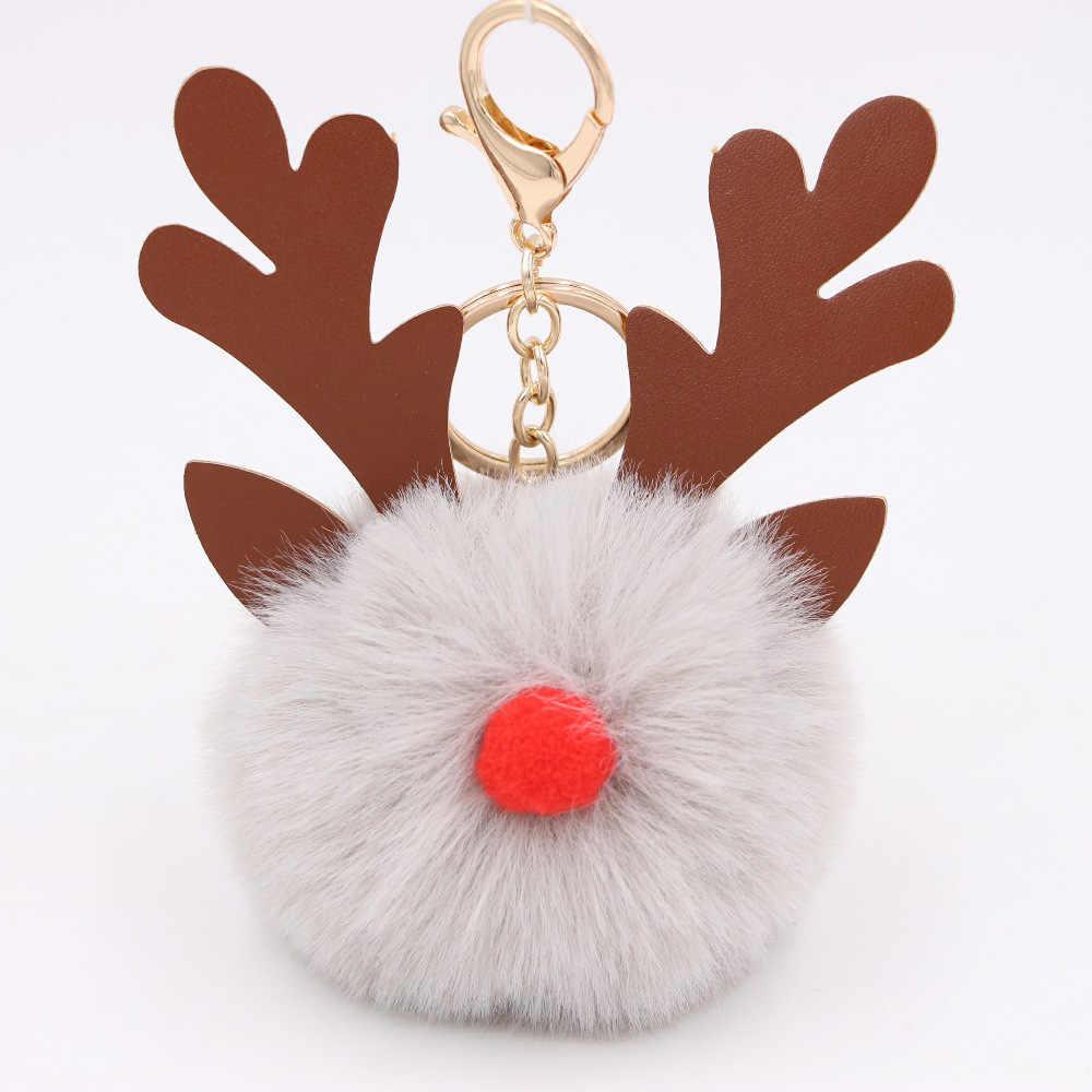 Keychian alces Do Natal dos desenhos animados Chaveiros Bola de Cabelo Mulheres Sacos de Charme Acessórios Pingente anel Chave Do Carro chaveiro Natal