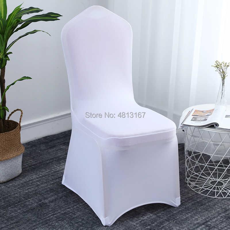 Cubierta de silla de boda blanca Universal elástico de poliéster elastano fundas de asiento de boda al aire libre banquete comedor 50 100 piezas