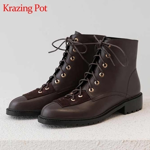 Image 1 - Krazing pot new genuine leather lace up European concise career mature neutral design rivets round toe med heels ankle boots L18