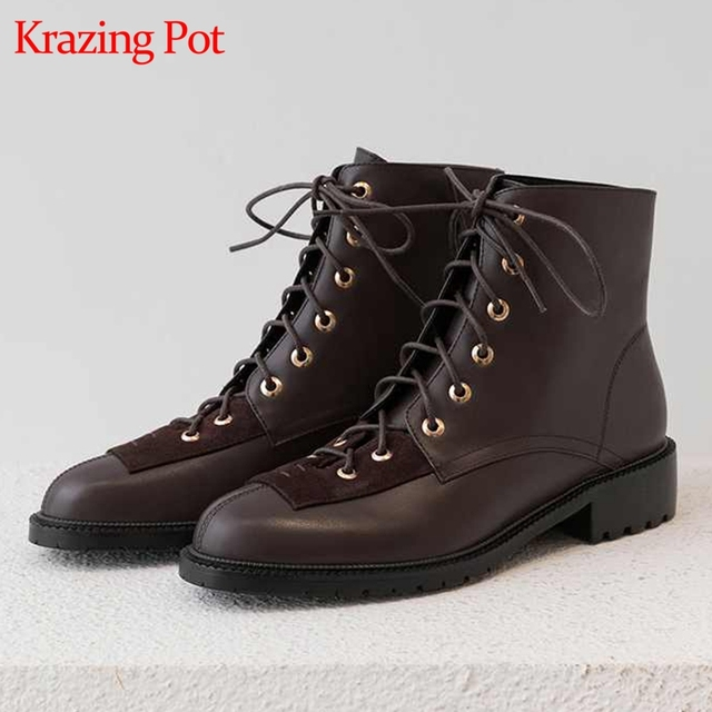 Krazing pot new genuine leather lace up European concise career mature neutral design rivets round toe med heels ankle boots L18