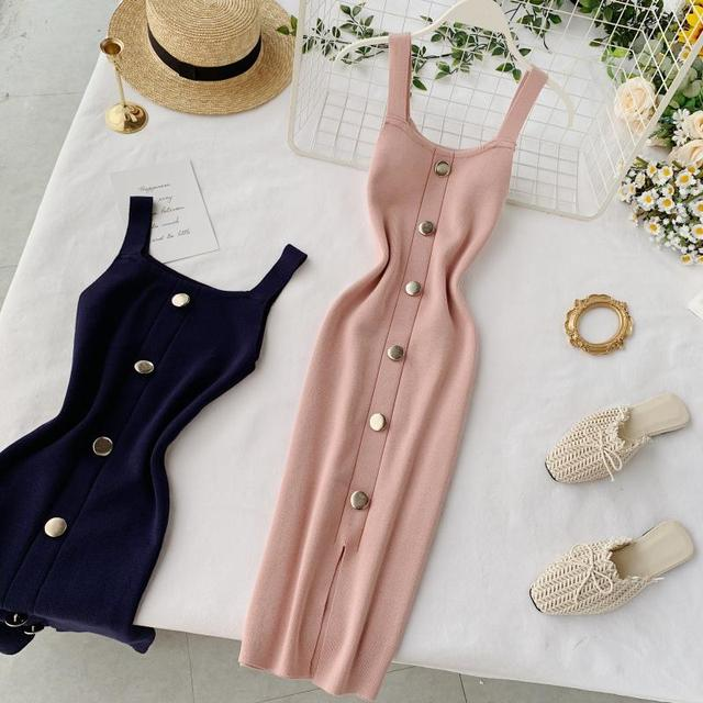 2020 Summer Pink/Red/White/Black Women Knitted Dress  1
