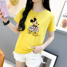 Korean-style Pure Cotton Large Size T-shirt WOMEN'S Short Sleeve Shirt 2020 Summer Mickey Mouse INS Fashion Women's T-shirt(China)