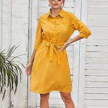 Vestidos elegantes da camisa das mulheres cor sólida bandagem vestidos de lapela meia manga casual escritório senhora vestido vestidos longos de verao