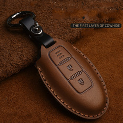 Crazy Horse Leather Car Key Case For Infiniti EX35 FX35 FX50 M56 G35 G37 JX35 QX50 QX60 QX80 Nissan Keychain Protect Bag Cover
