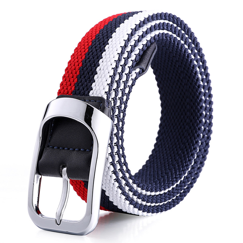 Belt Men's Fashion Two-tone Woven Canvas  Belts For Women  Elastic Fabric Comfortable Casual Style Belt Unisex