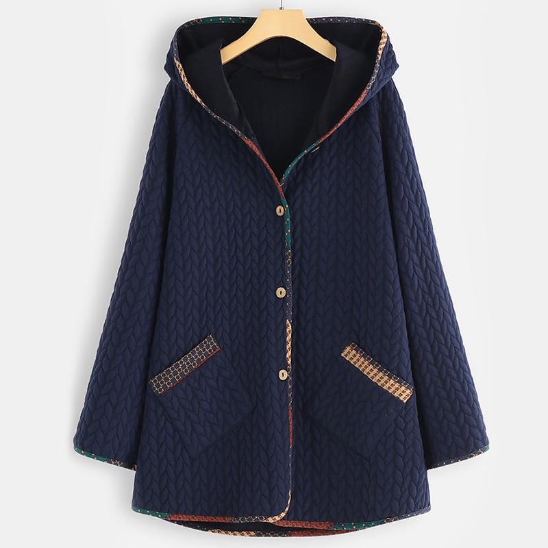 Autumn Winter Double Pockets Solid Women   Parka   5XL Plus Size Hooded Long Sleeve Women Jackets Coats Botton   Parkas   Woman 2019