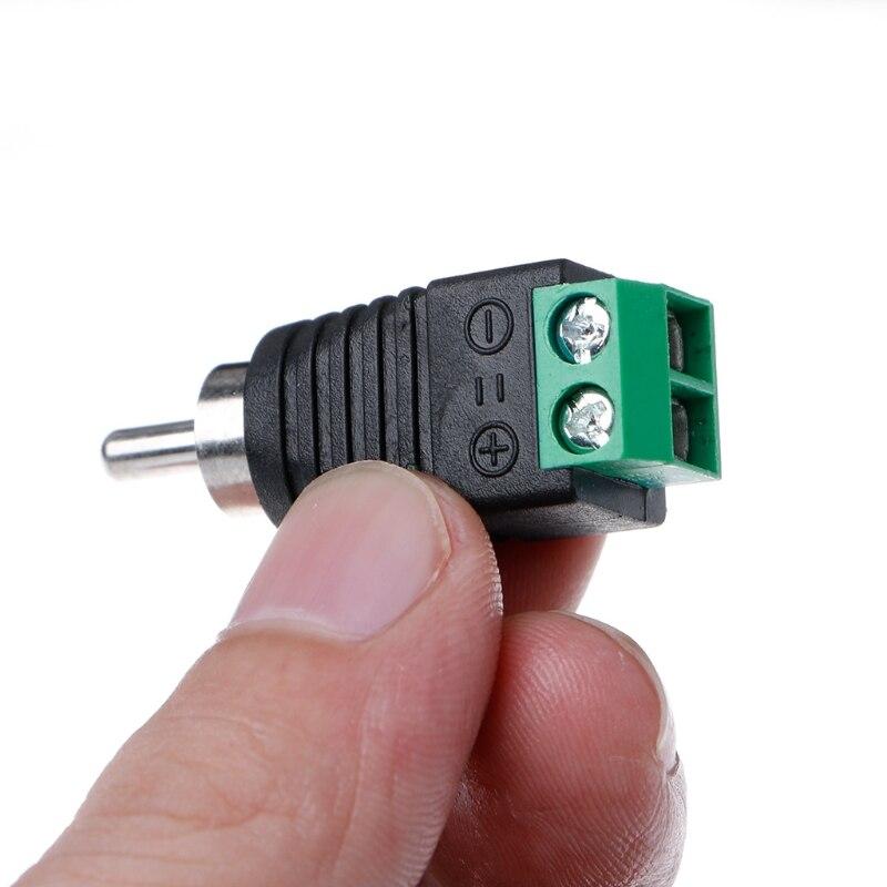 3 pces rca macho plug para av terminal conector vídeo av balun 2 parafuso wxtc