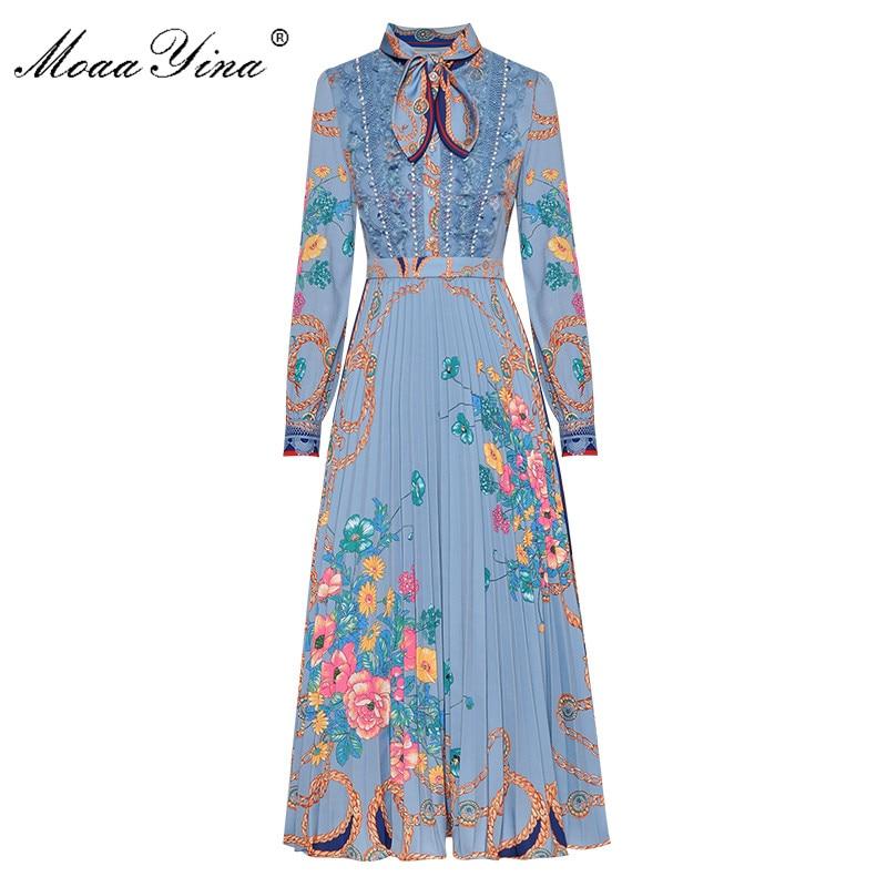 MoaaYina Fashion Designer Dress Spring Autumn Women's Dress Long Sleeve Bow Collar Lace Pearl Print Vintage Dresses