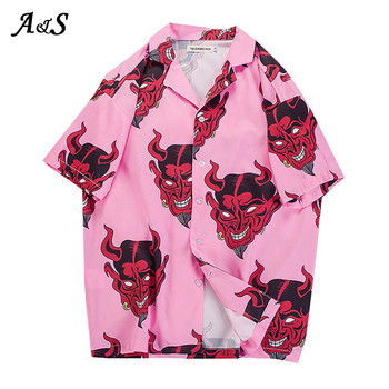 Anbenser Harajuku Demon Print Tops Summer Women Blouse Punk Gothic Casual Loose Short Sleeve Shirt Female Streetwear