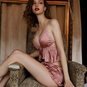Image 1 - New Sexy Lace Lingerie Women Crop Top Shorts Pajamas Set Sleepwear Satin Pijama Nightwear Pyjama Femme Night Suit