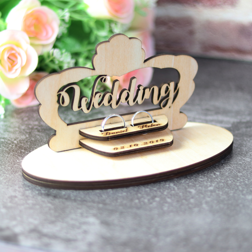Customized Wedding Gifts Ring Bearer Box  Personalized Ring Holder Nature Ring Box For Engagement  Name Ring Pillow Decorations (6)