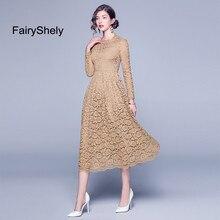 2019 Autumn Khaki Midi Plus Size Dress XXXL Women Sexy Elegant Lace Club Celebrity Evening Party Vintage princess dress
